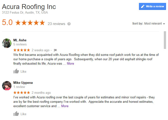 Google Reviews img | Acura Roofing