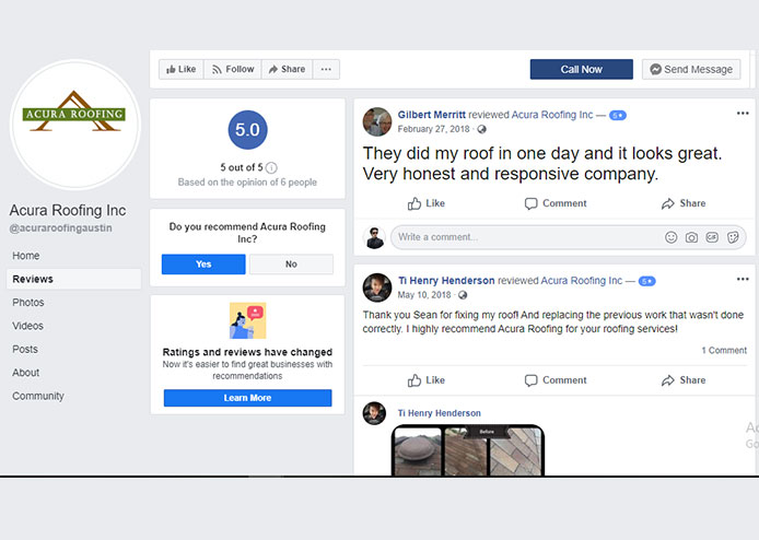 Facebook Reviews img | Acura Roofing